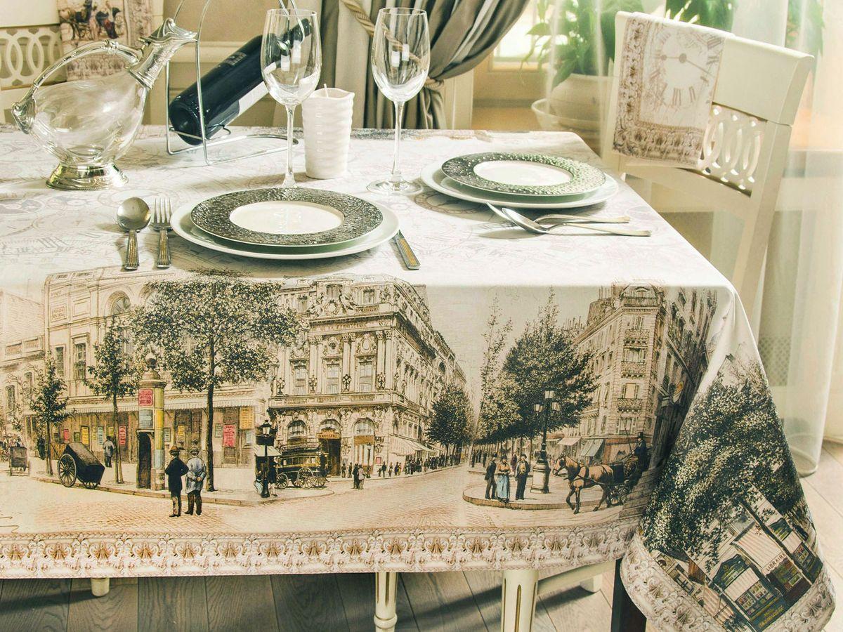 Скатерть кухонная Proffi Home Париж, 220 х 140 см, цвет: белый, бежевыйPH3897Скатерть Форма: прямоугольная Материал: полиэстер, хлопок Длина: 220 см Ширина: 140 см Цвет: белый, бежевый