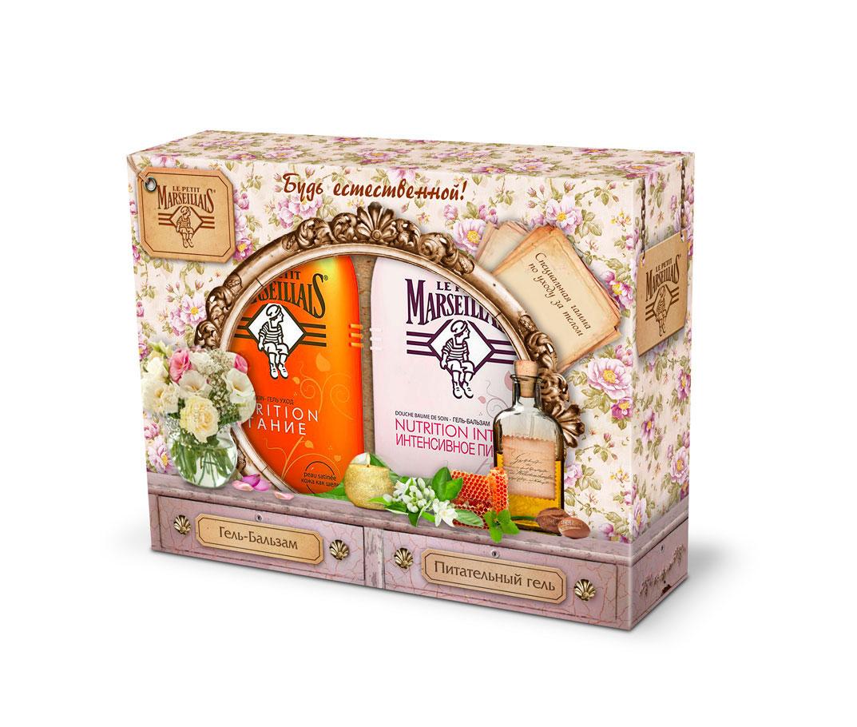 Le Petit Marseillais Подарочный Набор Гель-бальзам Интенсивное питание Масло арганы, пчелиный воск и масло лепестков розы, 250 мл + Питательный гель (гель-масло) Масло арганы и цветок апельсинового дерева, 250 мл