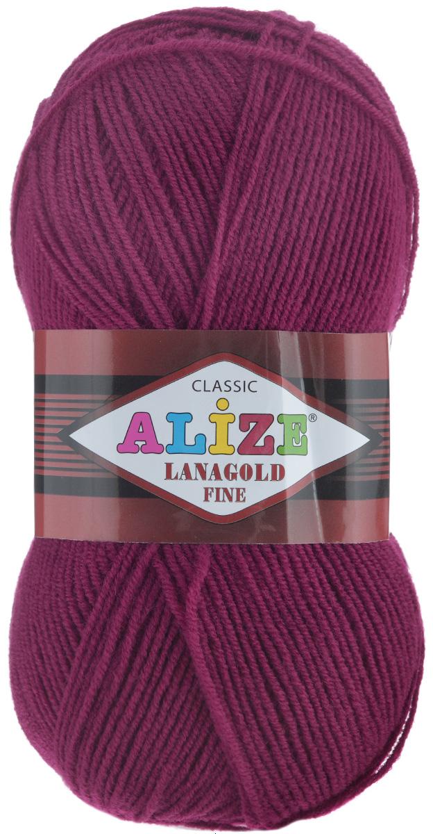 Пряжа для вязания Alize Lanagold Fine, цвет: рубин (649), 390 м, 100 г, 5 шт547499_649Alize Lanagold Fine - это полушерстяная пряжа для ручного вязания. Нить плотно скручена, гибкая, послушная, не пушится, не электризуется, аккуратно ложится в петли и не деформируется после распускания. Стойкое равномерное окрашивание обеспечивает широкую палитру оттенков. Соотношение шерсти и акрила - формула практичности. Высокие тепловые характеристики сочетаются с эстетикой, носкостью и простотой ухода за вещью. Классическая пряжа для зимнего сезона, может использоваться для детской и взрослой одежды. Alize Lanagold Fine - универсальная пряжа, которая будет хорошо смотреться в узорах любой сложности. Рекомендуемый размер спиц 2,5-4 мм и крючка 2-4 мм. Состав: 49% шерсть, 51% акрил.