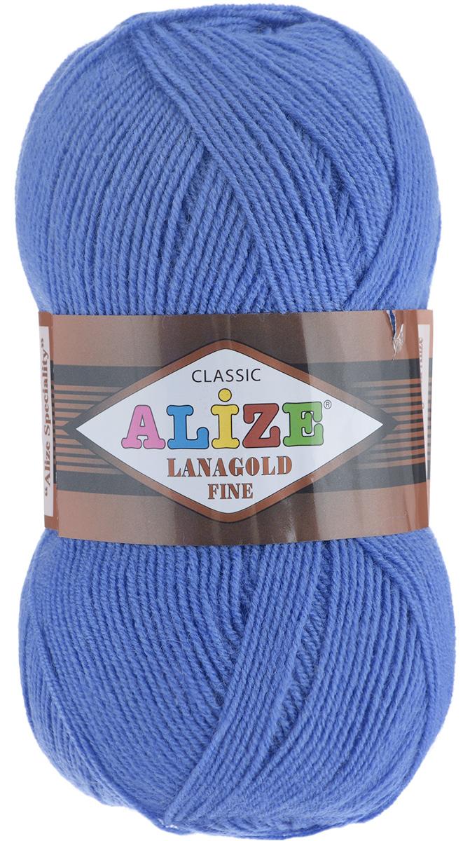 Пряжа для вязания Alize Lanagold Fine, цвет: сапфир (237), 390 м, 100 г, 5 шт547499_237Alize Lanagold Fine - это полушерстяная пряжа для ручного вязания. Нить плотно скручена, гибкая, послушная, не пушится, не электризуется, аккуратно ложится в петли и не деформируется после распускания. Стойкое равномерное окрашивание обеспечивает широкую палитру оттенков. Соотношение шерсти и акрила - формула практичности. Высокие тепловые характеристики сочетаются с эстетикой, носкостью и простотой ухода за вещью. Классическая пряжа для зимнего сезона, может использоваться для детской и взрослой одежды. Alize Lanagold Fine - универсальная пряжа, которая будет хорошо смотреться в узорах любой сложности. Рекомендуемый размер спиц 2,5-4 мм и крючка 2-4 мм. Состав: 49% шерсть, 51% акрил.
