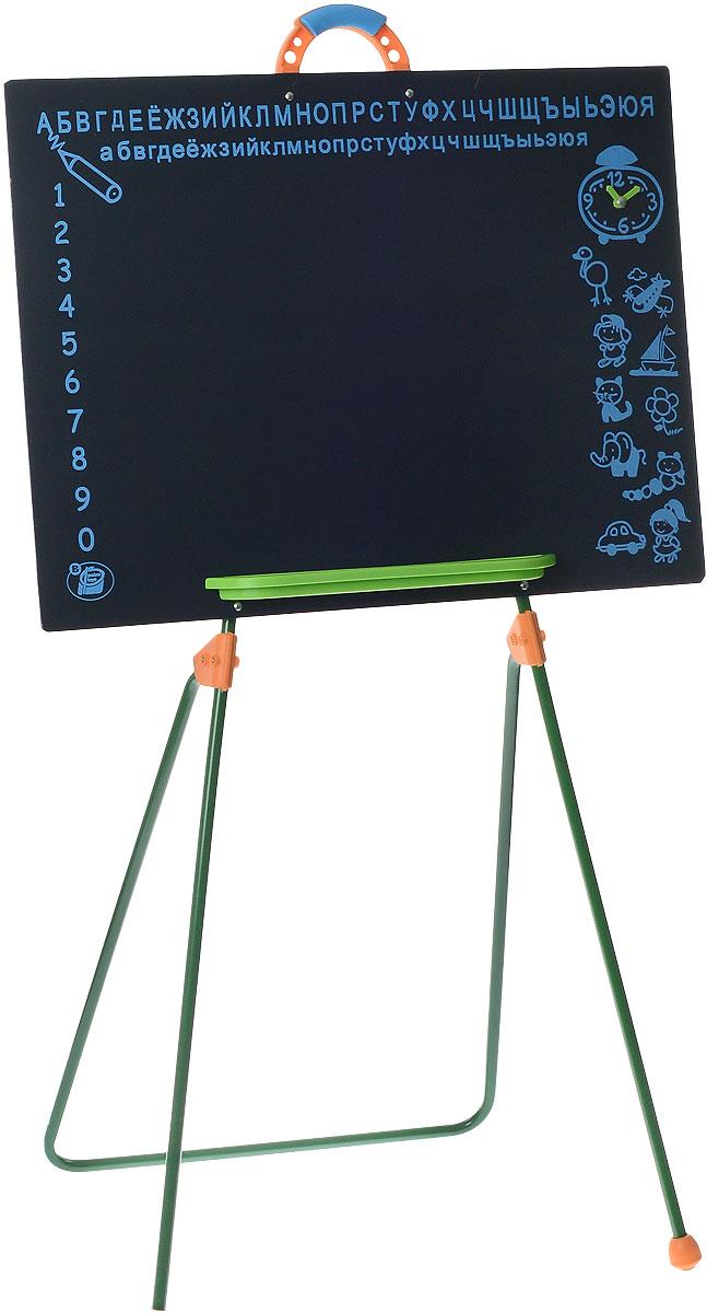 Palau Toys Игровая школьная доска на ножках высота 100 см07/50013Игровая школьная доска на ножках Palau Toys предлагает ребенку большой выбор развлечений. С ней легко начать любимую детскую ролевую игру в школу. На доске интересно писать и рисовать мелками. Одновременно с игрой ребенок учится считать и писать. Для того, чтобы упростить и разнообразить процесс обучения, на доске сверху нанесены буквы русского алфавита, слева - цифры, а справа - различные рисунки и будильник со стрелками. Внизу предусмотрена небольшая полочка для мелков. Наверху имеется ручка для удобства переноски. Доска устанавливается на металлические ножки.