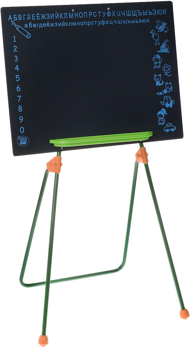 Palau Toys Игровая школьная доска на ножках высота 86 см07/50014Игровая школьная доска на ножках Palau Toys предлагает ребенку большой выбор развлечений. С ней легко начать любимую детскую ролевую игру в школу. На доске интересно писать и рисовать мелками. Одновременно с игрой ребенок учится считать и писать. Для того, чтобы упростить и разнообразить процесс обучения, на доске сверху нанесены буквы русского алфавита, слева - цифры от 1 до 0, а справа - различные рисунки. Внизу предусмотрена небольшая полочка для мелков. Доска устанавливается на металлические ножки.