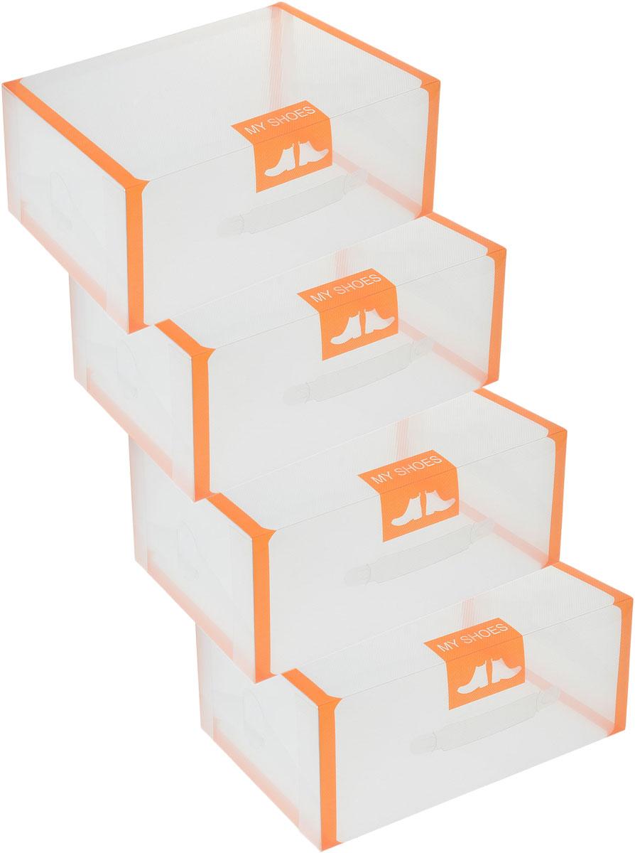 Набор коробок для хранения обуви El Casa, складной, цвет: прозрачный, оранжевый, 35 х 21 х 14 см, 4 шт