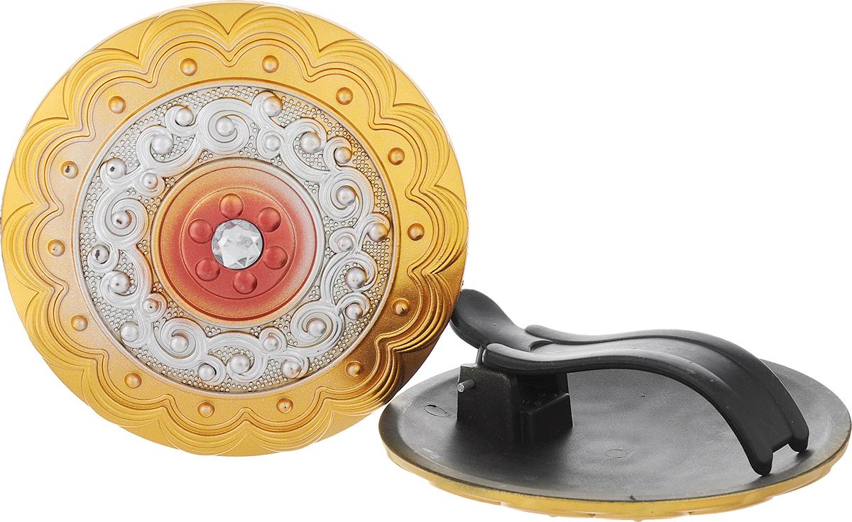 Клипса для штор Goodliving, цвет: золотистый, диаметр 13 см, 2 шт. 77040007704000Клипсы для штор Goodliving выполнены из пластика в виде заколки. С помощью таких клипс можно зафиксировать портьеры, придать им требуемое положение, сделать складки симметричными или приблизить портьеры, скрепить их. Клипсы для штор являются универсальным изделием, которое превосходно подойдет как для штор в детской комнате, так и для штор в гостиной. Следует отметить, что клипсы для штор выполняют не только практическую функцию, но также являются одной из основных деталей декора этого изделия, которая придает шторам восхитительный, стильный внешний вид. В комплекте - 2 клипсы. Диаметр клипсы: 13 см.