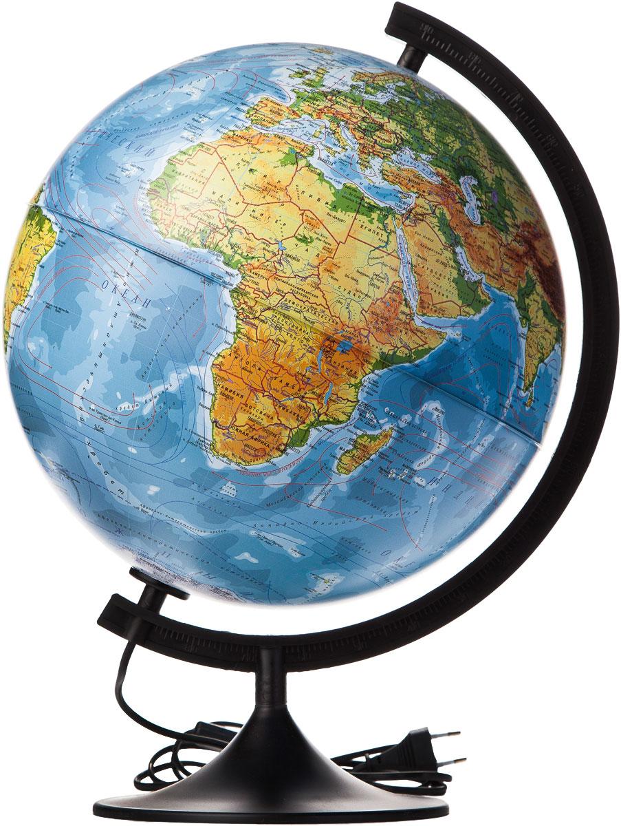 Globen Глобус Земли физический с подсветкой диаметр 320 ммК013200017Глобус - уменьшенная и понятная, даже детям, модель земного шара, помогает в развитии пространственного воображения и формирования правильного мировосприятия подрастающего поколения. Глобусы Globen изготавливаются из высококачественных материалов и являются отличным наглядным пособием для школьников и студентов.
