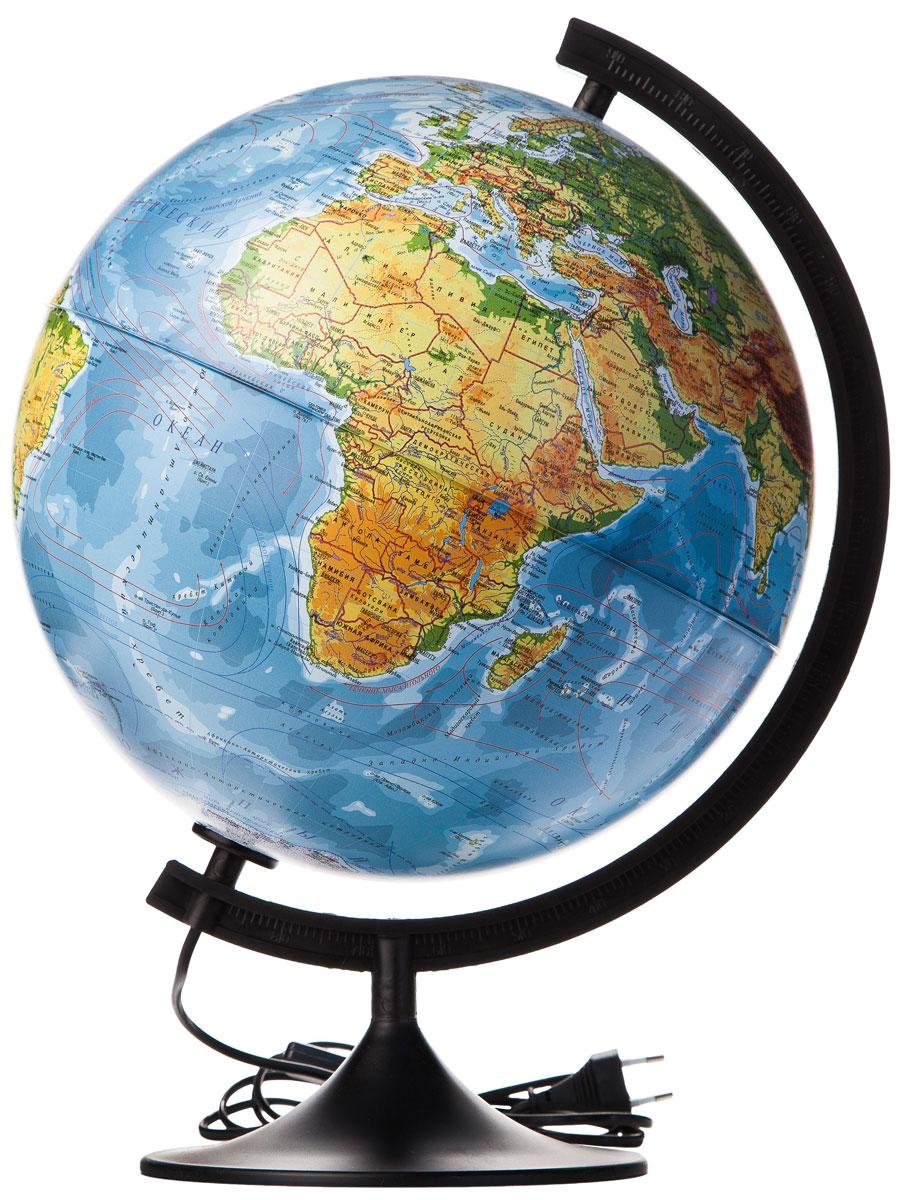 Globen Глобус Земли физико-политический с подсветкой диаметр 320 ммК013200101Глобус - уменьшенная и понятная, даже детям, модель земного шара, помогает в развитии пространственного воображения и формирования правильного мировосприятия подрастающего поколения. Глобусы от компании Globen изготавливаются из высококачественных материалов и являются отличным наглядным пособием для школьников и студентов. Главная особенность этой модели – наличие подсветки, которая работает от сети переменного тока. При включении подсветки определяются государственные границы стран. Модель имеет устойчивую пластиковую подставку черного цвета.
