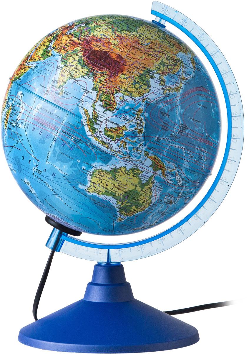 Globen Глобус Земли физический с подсветкой диаметр 150 ммКе011500199Глобус - уменьшенная и понятная, даже детям, модель земного шара, помогает в развитии пространственного воображения и формирования правильного мировосприятия подрастающего поколения. Глобусы Globen изготавливаются из высококачественных материалов и являются отличным наглядным пособием для школьников и студентов.