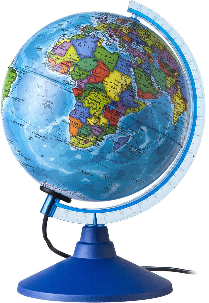 Globen Глобус Земли политический с подсветкой диаметр 150 ммКе011500200Глобус - уменьшенная и понятная, даже детям, модель земного шара, помогает в развитии пространственного воображения и формирования правильного мировосприятия подрастающего поколения. Глобусы Globen изготавливаются из высококачественных материалов и являются отличным наглядным пособием для школьников и студентов.