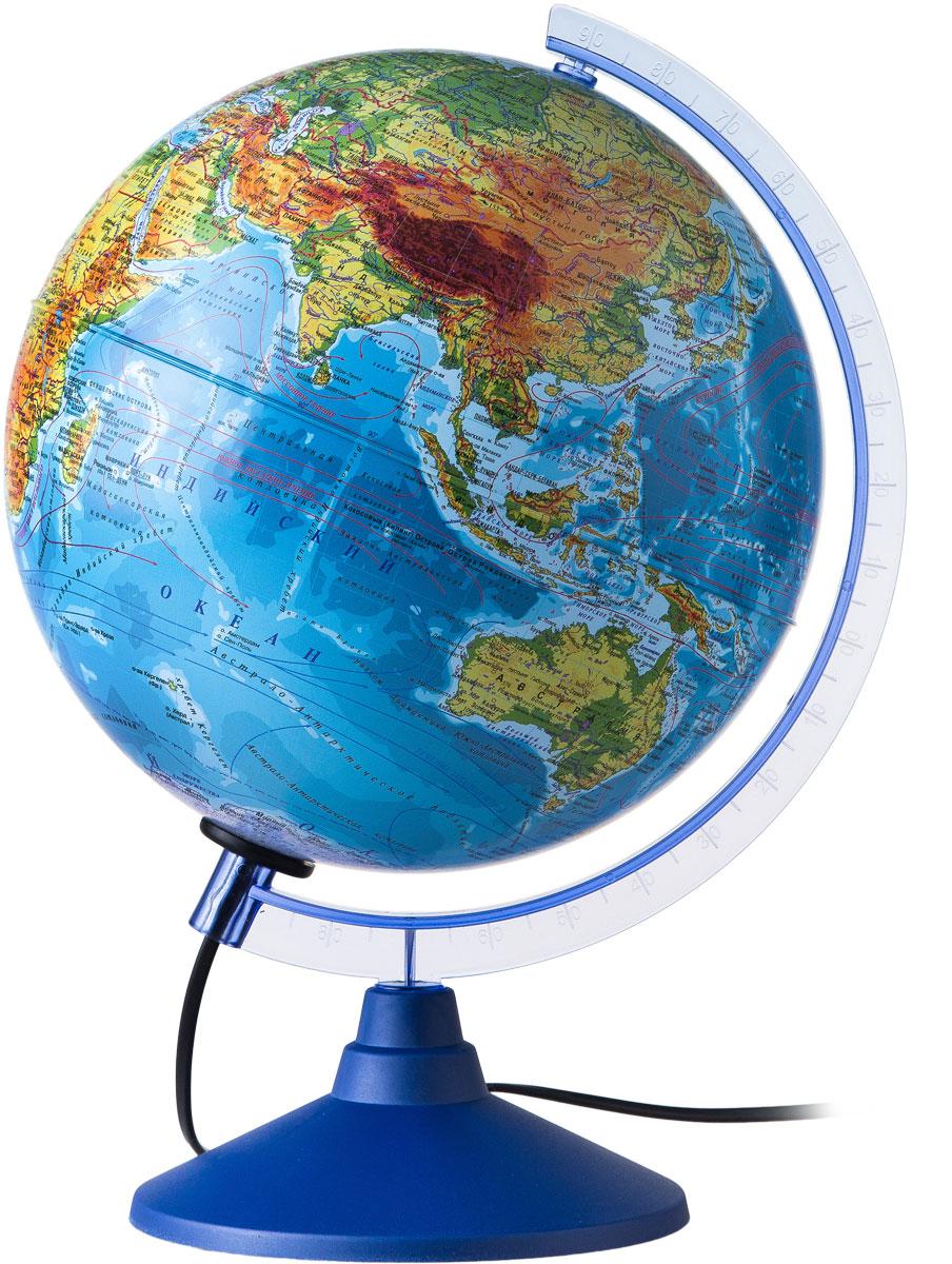 Globen Глобус Земли физический с подсветкой диаметр 250 ммКе012500189Глобус - уменьшенная и понятная, даже детям, модель земного шара, помогает в развитии пространственного воображения и формирования правильного мировосприятия подрастающего поколения. Глобусы Globen изготавливаются из высококачественных материалов и являются отличным наглядным пособием для школьников и студентов.