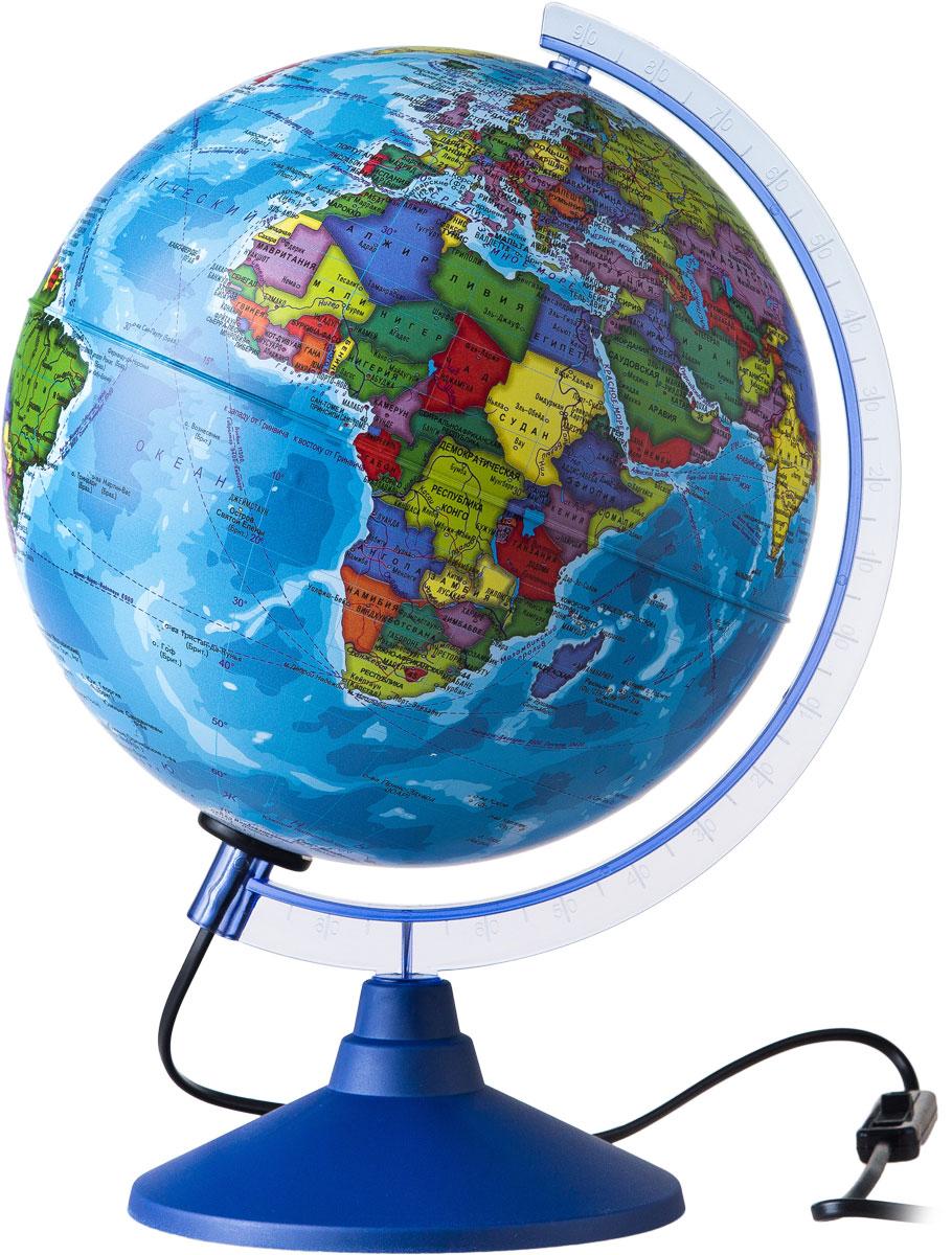 Globen Глобус Земли политический с подсветкой диаметр 250 ммКе012500190Глобус - уменьшенная и понятная, даже детям, модель земного шара, помогает в развитии пространственного воображения и формирования правильного мировосприятия подрастающего поколения. Глобусы Globen изготавливаются из высококачественных материалов и являются отличным наглядным пособием для школьников и студентов.