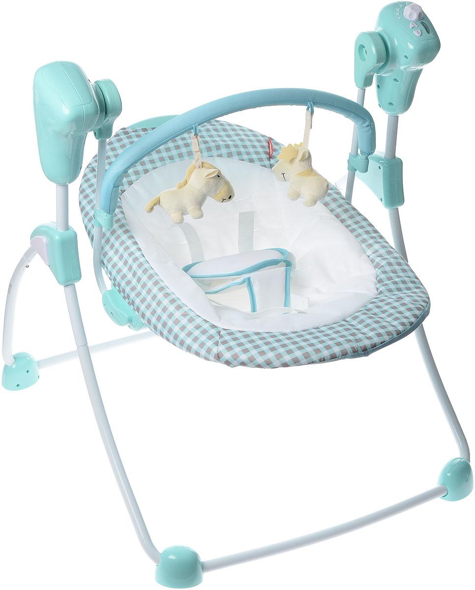 Amalfy Кресло-качели цвет голубойGB-001_AquaПредставляем вашему вниманию уникальное электромеханическое кресло-качели Amalfy. Качели отлично имитируют среду, в которой малыш находился до рождения. Благодаря качелям, кроха будет чувствовать себя комфортно не только у мамы на руках, они станут незаменимым помощником в уходе за ребёнком. Amalfy создаст для малыша безопасную, уютную и тёплую обстановку. Пять режимов качания помогут выбрать оптимальную комбинацию для ребёнка в зависимости от того, спит он или бодрствует. Кресло компактно складывается для удобного хранения. Качели дополнены съемной дугой с развивающими мягкими игрушками. Малыш надежно крепится к качелям пятью точечными ремнями. Качели проигрывают 8 разных приятных мелодий. У музыкального блока имеется таймер с автоматическим выключением музыки. Работает от 4 батареек типа АА (не входят в комплект).