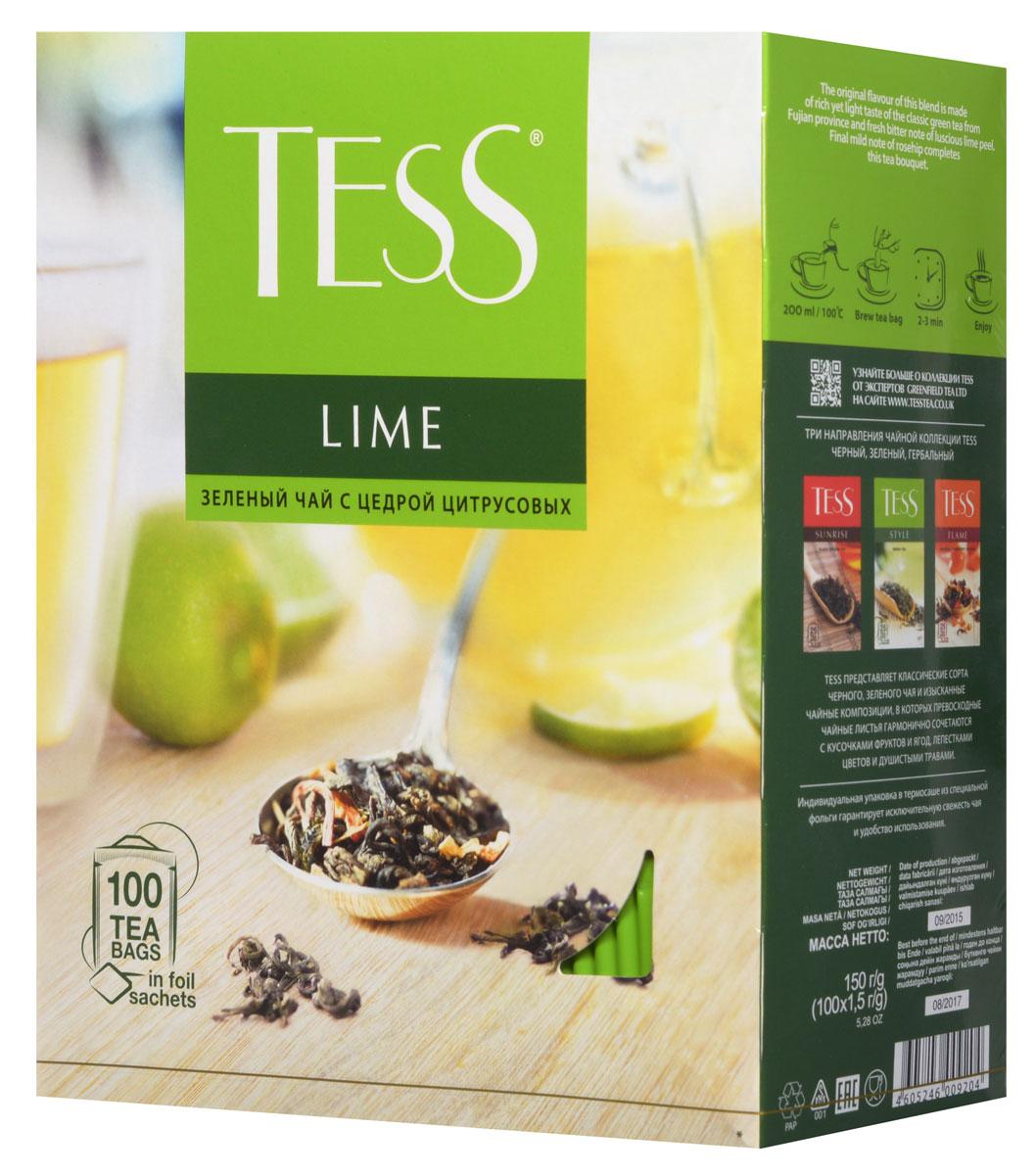 Tess Lime зеленый чай в пакетиках, 100 шт0920-09__новая упаковкаTess Lime - зеленый ароматизированный чай в пакетиках. Своей индивидуальностью этот сорт обязан гармоничному сочетанию насыщенного, но легкого вкуса классического зеленого чая из провинции Фудзяньи свежей горчинки цедры сочного лайма Заключительный штрих - мягкий оттенок шиповника - придает завершенность чайному букету.