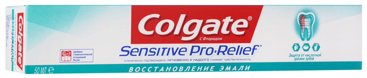 Colgate Зубная паста Sensitive Pro-Relef Восстановление Эмали 50 млFTH39372Инновационная Pro-Argin™ технология При регулярном использовании создает восстанавливающий слой, состоящий из минералов, входящих в состав зубной эмали, который действует против повышенной чувствительности. Мгновенно1 и надолго2 снижает повышенную чувствительность зубов так же как и базовая формула