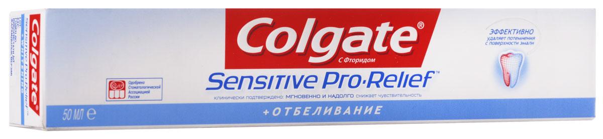 Colgate Зубная паста Sensitive Pro-Relef Отбеливающая 50 млFTH39369Инновационная Pro-Argin™ технология Мгновенно1 и надолго2 снижает повышенную чувствительность зубов так же как и базовая формула Формула с пониженной абразивностью бережно, но эффективно удаляет пятна с поверхности зубов. Восстанавливает естественную белизну зубов.
