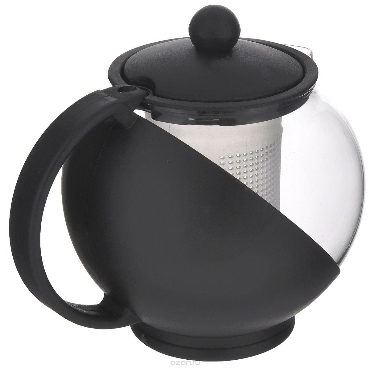 Чайник заварочный Miolla, с фильтром, цвет: черный, 500 мл. DHA020P/ADHA020P/A_черныйЗаварочный чайник Miolla изготовлен из жаропрочного стекла и термостойкого пластика. Чай в таком чайнике дольше остается горячим, а полезные и ароматические вещества полностью сохраняются в напитке. Чайник оснащен фильтром и крышкой. Простой и удобный чайник поможет вам приготовить крепкий, ароматный чай. Разборная конструкция обеспечивает легкий уход. Нельзя мыть в посудомоечной машине. Не использовать в микроволновой печи. Диаметр чайника (по верхнему краю): 6,2 см. Высота чайника (без учета крышки): 10 см. Высота фильтра: 7,5 см.