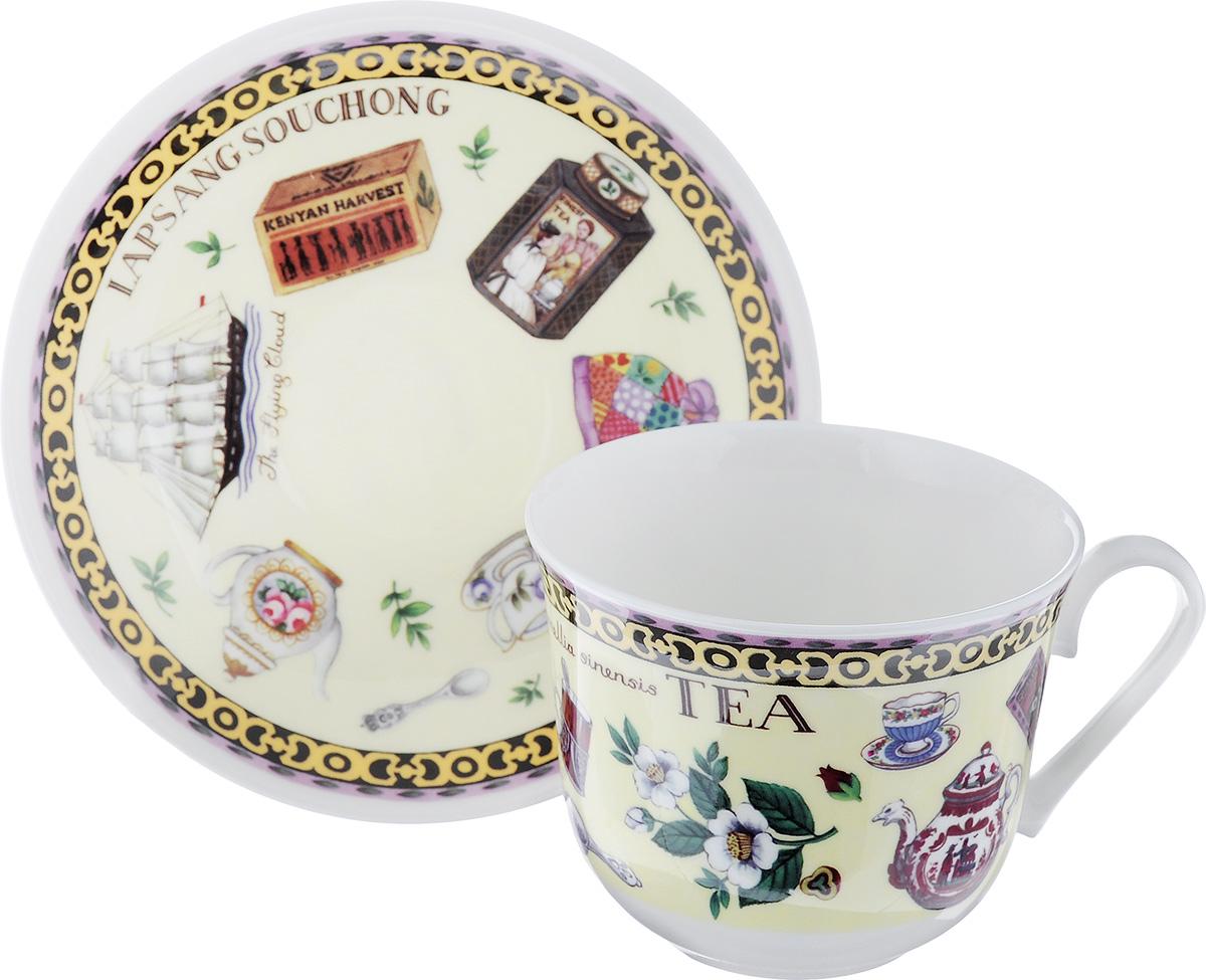 Чайная пара Roy Kirkham Чай, 2 предметаXTEA1100Чайная пара Roy Kirkham Чай состоит из чашки и блюдца, изготовленных из тонкостенного костяного фарфора высшего качества, отличающегося необыкновенной прочностью и небольшим весом. Изделия оформлены цветным рисунком. Яркий дизайн, несомненно, придется вам по вкусу. Чайная пара Roy Kirkham Чай украсит ваш кухонный стол, а также станет замечательным подарком к любому празднику. Объем чашки: 500 мл. Диаметр чашки по верхнему краю: 10,5 см. Высота чашки: 8,5 см. Диаметр блюдца: 17 см. Высота блюдца: 2,5 см.
