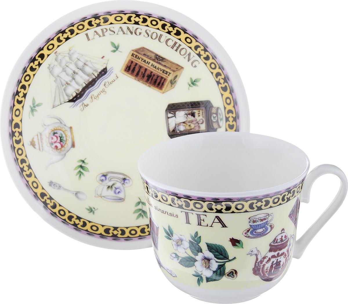 Чайная пара Roy Kirkham Чай, 2 предмета. XFINET1100XFINET1100Чайная пара Roy Kirkham Чай состоит из чашки и блюдца, изготовленных из тонкостенного костяного фарфора высшего качества, отличающегося необыкновенной прочностью и небольшим весом. Изделия оформлены цветным рисунком. Яркий дизайн, несомненно, придется вам по вкусу. Чайная пара Roy Kirkham Чай украсит ваш кухонный стол, а также станет замечательным подарком к любому празднику. Объем чашки: 500 мл. Диаметр чашки по верхнему краю: 10,5 см. Высота чашки: 8,5 см. Диаметр блюдца: 17 см. Высота блюдца: 2,5 см.