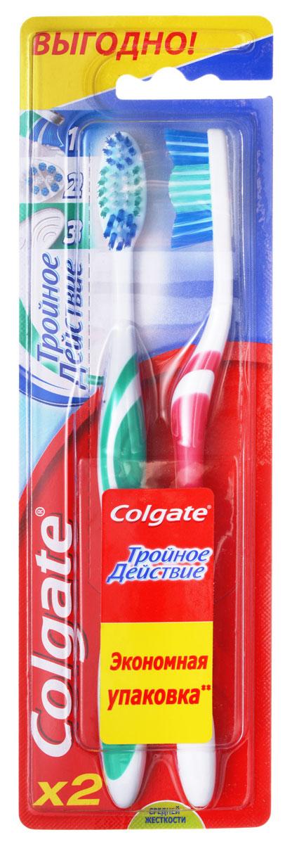 Colgate Зубная щетка Тройное действие средние Экономичная упаковка 2 щетки в упаковке