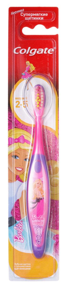 Colgate Зубная щетка Barbie/Spiderman детская от 2 до 5 лет супермягкие, цвет: розовый фиолетовый