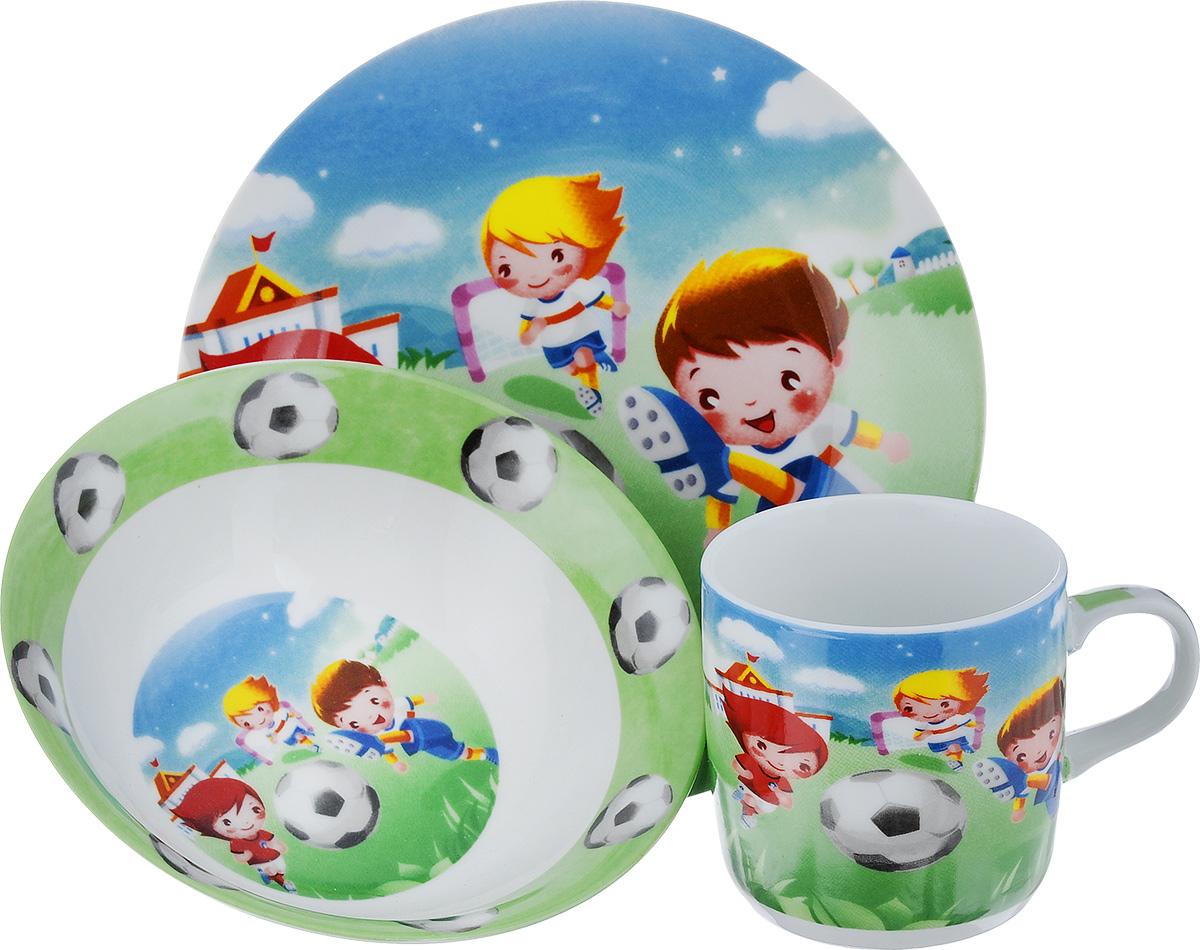 Набор детской посуды Loraine Футбол, 3 предмета24022Набор посуды Loraine Футбол изготовлен из высококачественной экологически чистой керамики. В набор входят 3 предмета: тарелка обеденная, тарелка суповая, кружка. Посуда оформлена красочными рисунками. Набор, несомненно, привлечет внимание вашего ребенка и не позволит ему скучать. Порадуйте своего ребенка этим замечательным набором! Объем кружки: 230 мл. Диаметр кружки (по верхнему краю): 7.5 см. Высота кружки: 7,5 см. Диаметр тарелки обеденной (по верхнему краю): 8 см. Высота тарелки обеденной: 1,8 см. Диаметр тарелки суповой (по верхнему краю): 15 см. Высота тарелки суповой: 4,8 см.