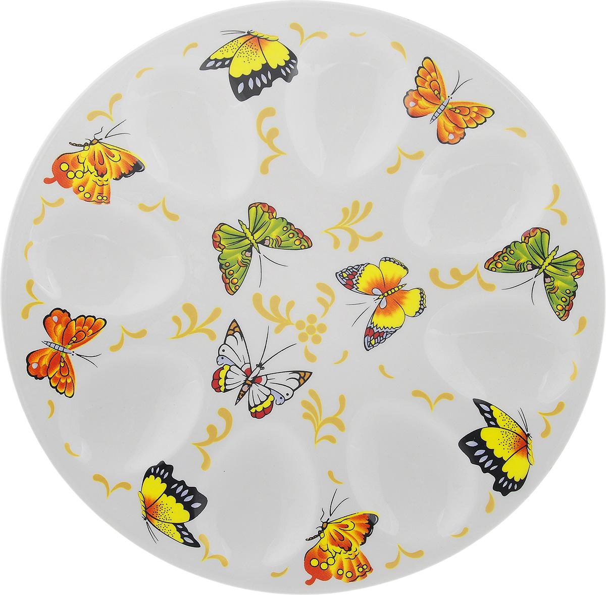 Тарелка для фаршированных яиц Elan Gallery Бабочки, диаметр 20 см101019Тарелка для фаршированных яиц Elan Gallery Бабочки выполнена из керамики и украшена изображением бабочек. На изделии имеются специальные углубления для 8 яиц. Такая тарелка украсит сервировку вашего стола и подчеркнет прекрасный вкус хозяйки. Диаметр тарелки: 20 см. Высота тарелки: 2 см. Не рекомендуется применять абразивные моющие средства. Не использовать в микроволновой печи.