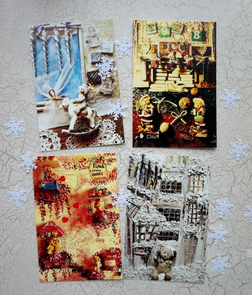 Набор открыток Истории игрушек. Сахарные мишки, 4 штНОИИСМПрелестные авторские открытки из набора Сахарные мишки для теплого, уютного настроения. Набор открыток Сахарные мишки очаровательный, милый и романтичный. С налетом винтажности и времени. Каждая открыточка - это особое настроение, это нежность теплого снега и кремовые оттенки зимних историй маленьких игрушечных медвежат. Каждая открытка имеет сладкие ванильный, шоколадный, кремовый, карамельный оттенки и похожа на кусочек ароматного жженого сахара. Открытки напечатаны на фактурной льняной бумаге.