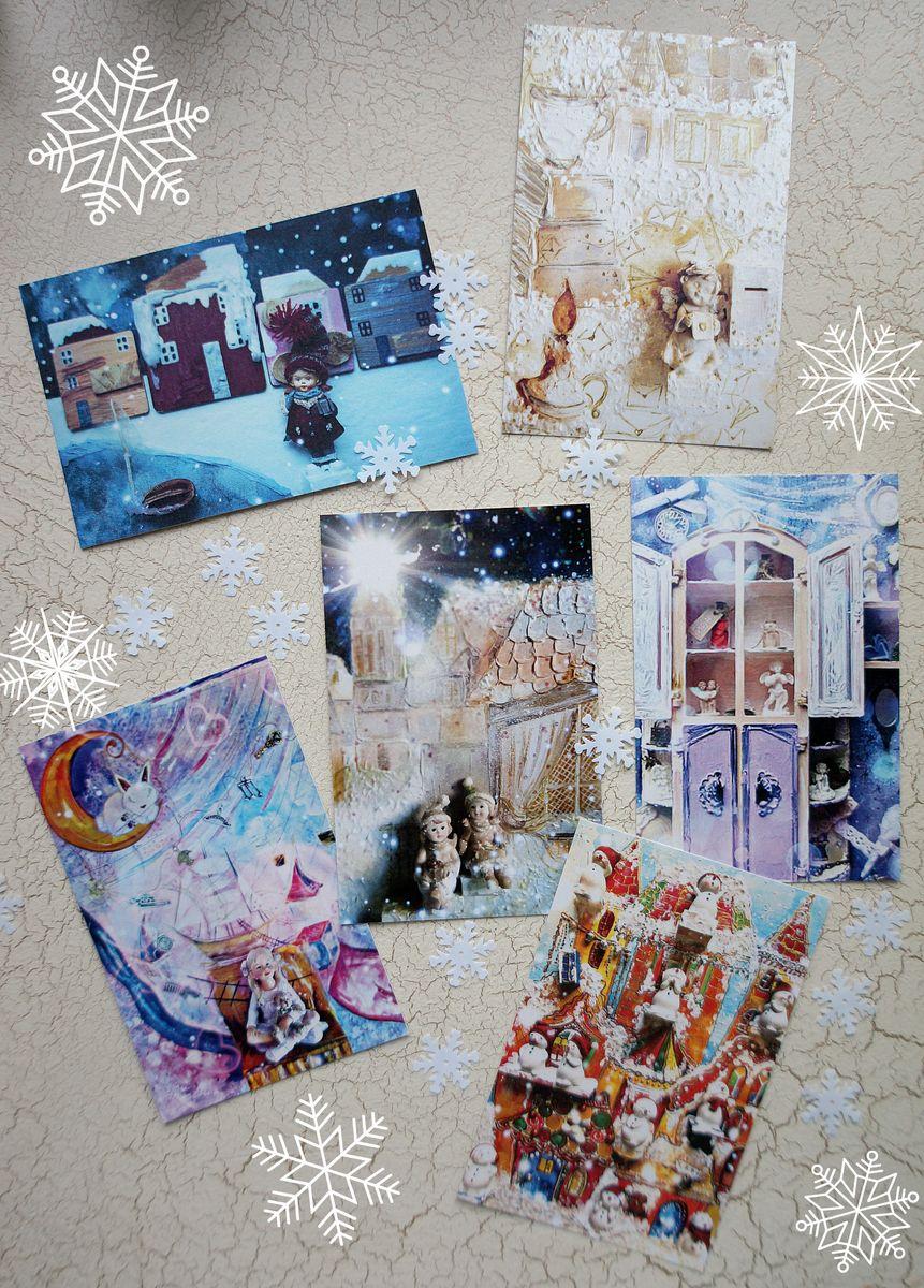 Набор открыток Истории игрушек. Снежные нежности, 6 штНОИИСНПрелестные авторские открытки из набора Истории игрушек. Снежные нежности для теплого, уютного настроения. Это настоящие маленькие сказочные истории оживших игрушек с 3D эффектом присутствия. Набор открыток Истории игрушек. Снежные нежности очаровательный и милый. Каждая открыточка это особое настроение, это нежность теплого снега и кремовые оттенки зимних чудесных историй малышей в игрушечной стране. Открытки имеют теплые ванильный и карамельный оттенки, а также лавандовый и снежно-синий. Открытки напечатаны на фактурной льняной бумаге. Она живая, теплая и приятная на ощупь.