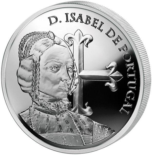 Монета номиналом 5 евро Королева Изабелла Португальская. Португалия, 2015 год739Диаметр монеты: 30,0 мм Тираж: 75000 шт. Художник: Hugo Maciel Дата выхода: 17 июня 2015 г.