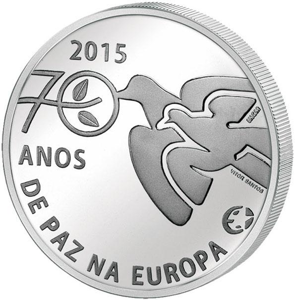 Монета номиналом 2,5 евро 70 лет мира в Европе. Португалия, 2015 год739Диаметр монеты: 28,0 мм Тираж: 100000 шт. Художник: Vitor Santos Дата выхода: март 2015 г.