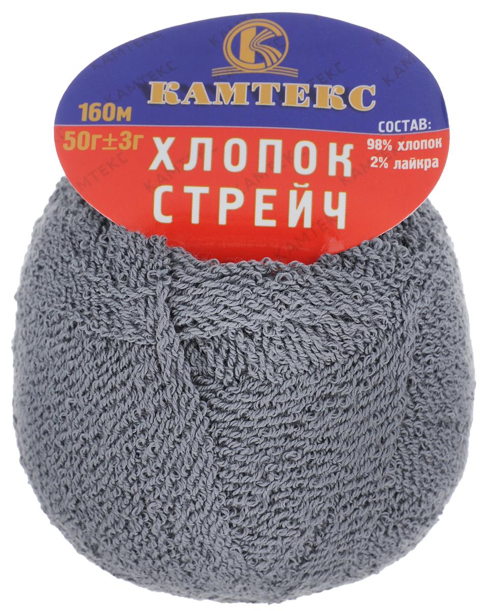 Пряжа для вязания Камтекс Хлопок стрейч, цвет: серый (169), 160 м, 50 г, 10 шт136077_169Пряжа для ручного вязания Хлопок стрейч изготовлена из хлопка и лайкры в две нити. Оптимальная длина нити в мотке та, какую любят большинство рукодельниц. Пряжа имеет интересное переплетение, стабильна в полотне, ложится красивой и эффектной фактурой. Гигиенична, гигроскопична, приятна для тела. Прекрасный вариант для вязания летней одежды. С такой пряжей для ручного вязания вы сможете связать своими руками необычные и красивые вещи. Рекомендованные спицы и крючок для вязания 2-5 мм. Состав: 98% хлопок, 2% лайкра. Толщина нити: 1,5 мм.