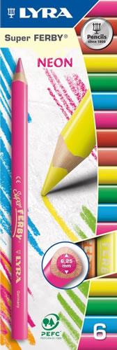 Lyra Набор цветных карандашей Super Ferby Neon 6 штL3721063_6 цветовНабор цветных неоновых карандашей Lyra Super Ferby Neon непременно понравятся вашему юному художнику. Набор включает в себя 6 ярких насыщенных цветных карандашей. Они имеют треугольную форму для удобного захвата. Идеально подходят для школы. Карандаши изготовлены из дерева, экологически чистые, с лакированным покрытием. Имеют прочный неломающийся грифель, не требующий сильного нажатия и легко затачиваются.