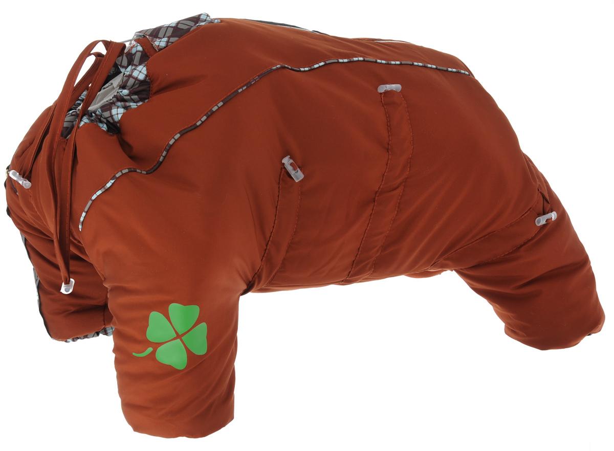 Комбинезон для собак Dogmoda Doggs, зимний, для девочки, цвет: оранжевый. Размер XXXLDM-140557Комбинезон для собак Dogmoda Doggs отлично подойдет для прогулок в зимнее время года. Комбинезон изготовлен из полиэстера, защищающего от ветра и снега, с утеплителем из синтепона, который сохранит тепло даже в сильные морозы, а на подкладке используется искусственный мех, который обеспечивает отличный воздухообмен. Комбинезон застегивается на молнию и липучку, благодаря чему его легко надевать и снимать. Молния снабжена светоотражающими элементами. Низ рукавов и брючин оснащен внутренними резинками, которые мягко обхватывают лапки, не позволяя просачиваться холодному воздуху. На вороте, пояснице и лапках комбинезон затягивается на шнурок-кулиску с затяжкой. Модель снабжена непромокаемым карманом для размещения записки с информацией о вашем питомце, на случай если он потеряется. Благодаря такому комбинезону простуда не грозит вашему питомцу и он не даст любимцу продрогнуть на прогулке.