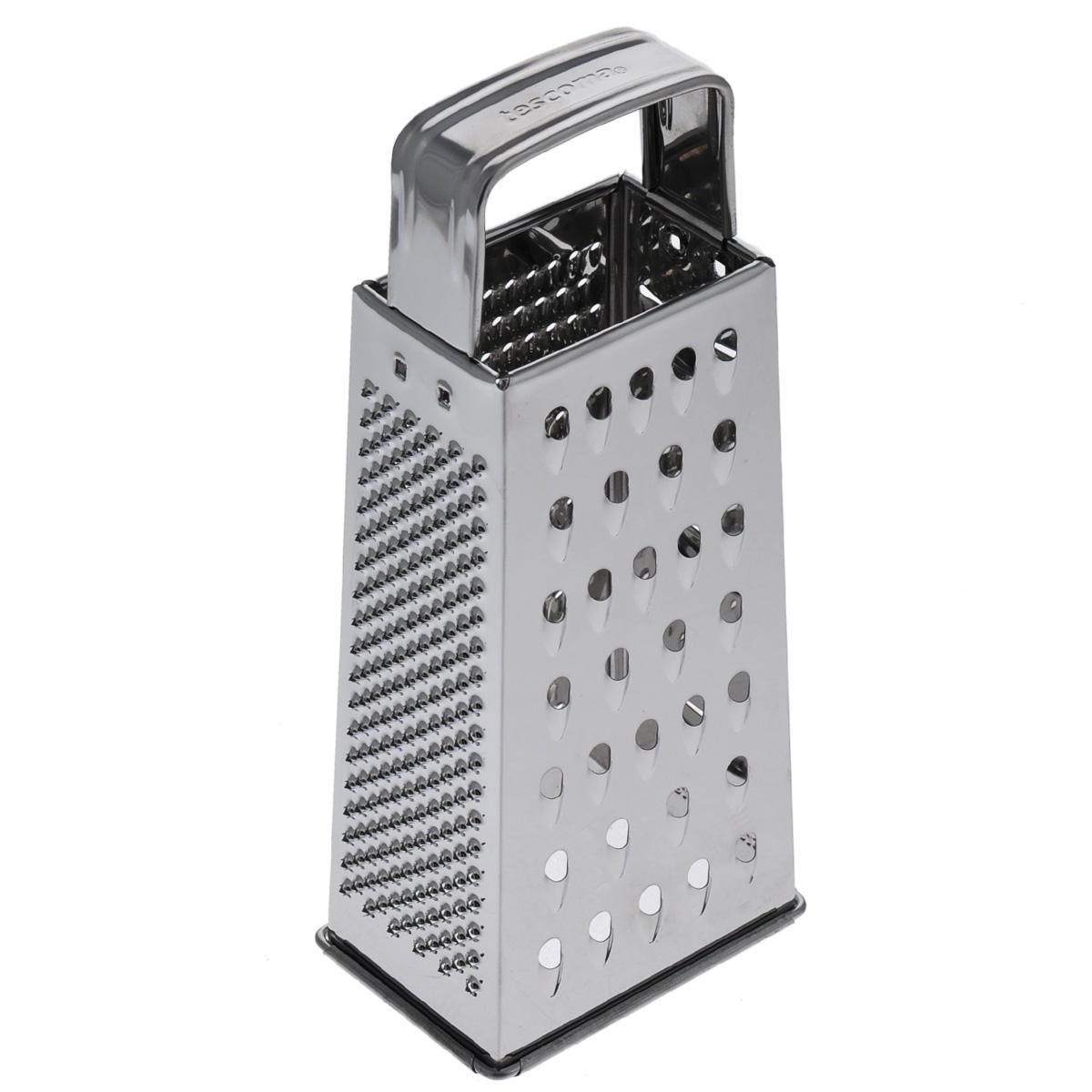 Терка четырехгранная Tescoma Handy, высота 23 см643742Четырехгранная терка Tescoma Handy, выполненная из высококачественной нержавеющей стали с зеркальной полировкой, станет незаменимым атрибутом приготовления пищи. Сверху на терке находится удобная ручка. На одном изделие представлены четыре вида терок - крупная, мелкая, фигурная и нарезка ломтиками. Современный стильный дизайн позволит терке занять достойное место на вашей кухне. Можно мыть в посудомоечной машине. Высота терки (без учета ручки): 18,5 см.