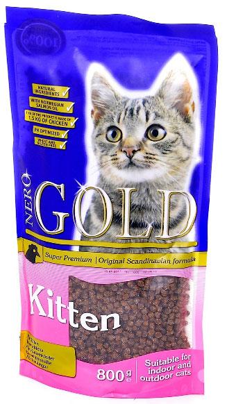 NERO GOLD super premium Для Котят с Курицей (Kitten Chicken 34/22), 800 г.26348Состав: дегидрированное куриное мясо, рис, куриный жир, дегидрированная рыба, маис, гидролизованная куриная печень, мякоть свеклы, дрожжи, яичный порошок, рыбий жир, минералы и витамины, гидролизат хрящей (источник хондроитина), гидролизат ракообразных (источник глюкозамина), лецитин (мин. 0,5 %), инулин (мин. 0,5 % FOS), таурин. Условия хранения: в прохладном темном месте.