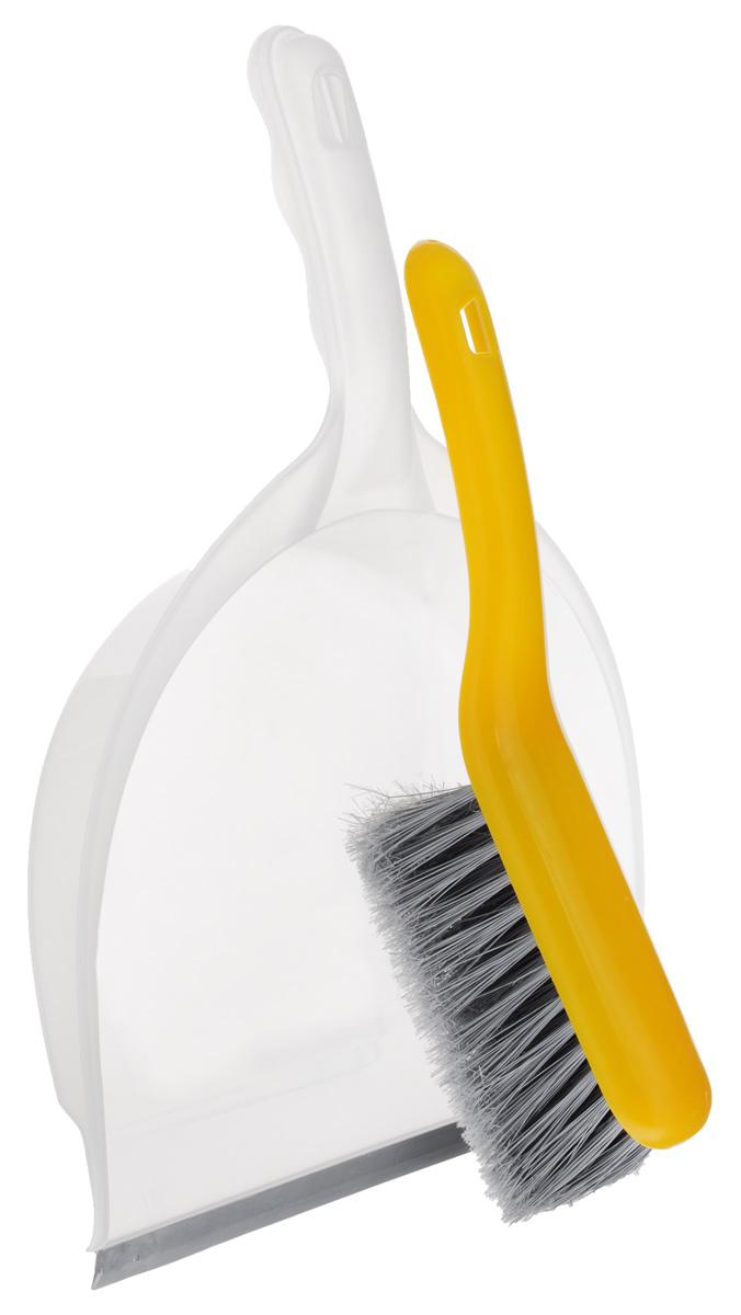 Совок Apex Big, со щеткой, цвет: желтый, прозрачный11702-A_желтый, прозрачныйНабор Apex Big включает щетку с синтетическим ворсом и совок, изготовленный из высококачественного пластика. Набор идеально подходит для уборки мусора с пола. Для дополнительного удобства совок и щетка снабжены специальной петелькой, с помощью которой, вложив щетку в совок, их можно разместить в любом месте. Размер совка с ручкой: 39 см х 22 см х 5,5 см. Размер щетки: 26 см х 6 см х 10 см.