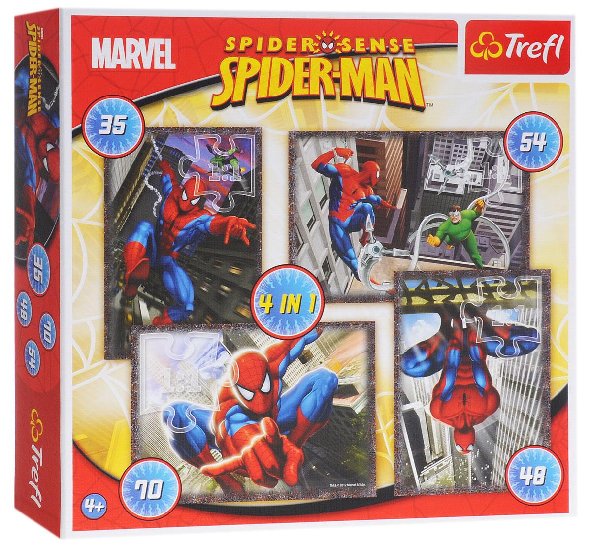 Trefl Пазл Человек-паук 4 в 134120Пазл Trefl Человек-паук 4 в 1 создан с любовью для маленьких любителей логических игр. Четкие яркие цвета, безопасные материалы и крепкая сцепка привлекут внимание ребенка и заинтересуют в сборке. С помощью этого набора ваш ребенок может собрать 4 картинки с изображением Человека-паука. В комплекте вы обнаружите 4 пазла, которые состоят из 35, 54, 70 и 48 элементов. Собирание пазла развивает у ребенка мелкую моторику рук, тренирует наблюдательность, логическое мышление, знакомит с окружающим миром, с цветом и разнообразными формами, учит усидчивости и терпению, аккуратности и вниманию.