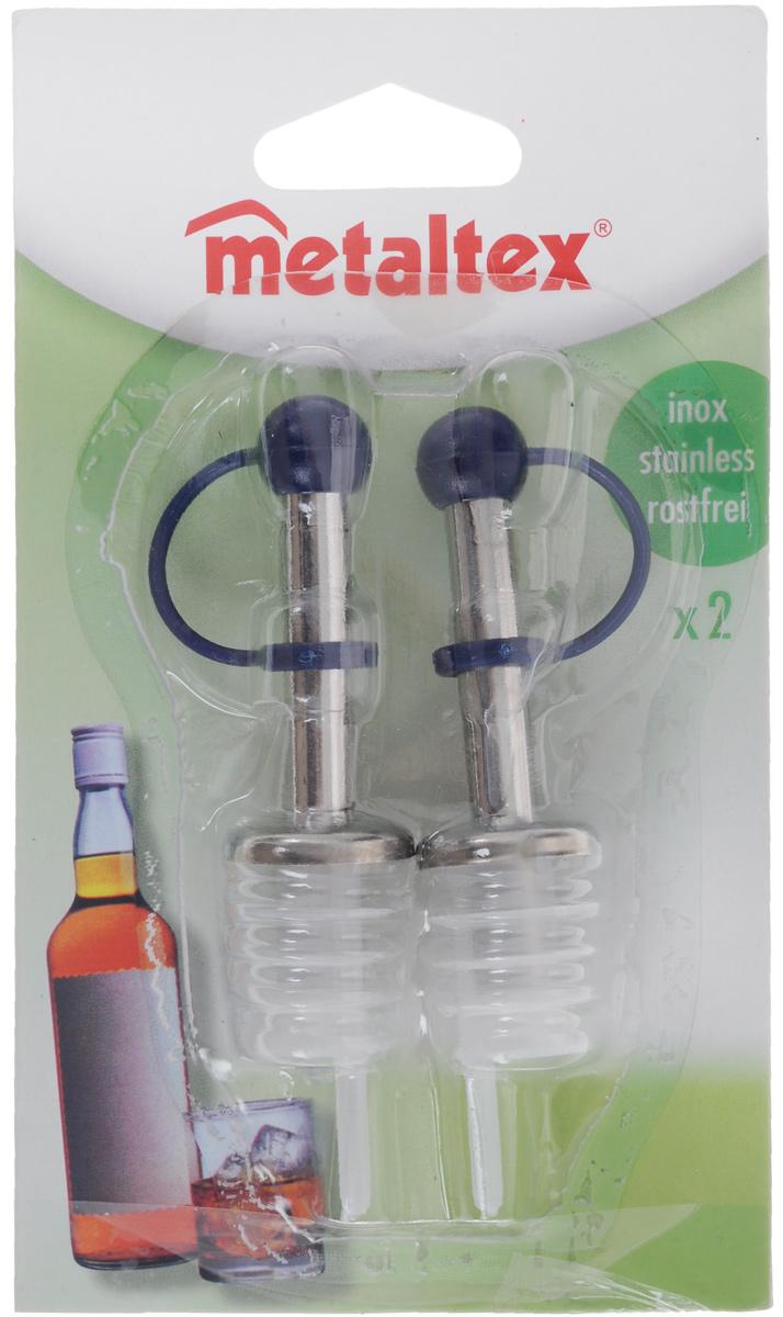 Набор пробок-дозаторов Metaltex, цвет: темно-синий, 2 шт25.71.00_синийНабор Metaltex состоит из двух пробок-дозаторов, предназначенных для закрывания бутылок. Пробки выполнены из стали и пластика. С помощью таких пробок можно наливать напитки, не вынимая их. Набор Metaltex порадует вас лаконичным дизайном и функциональностью, а также займет достойное место среди аксессуаров на вашей кухне.