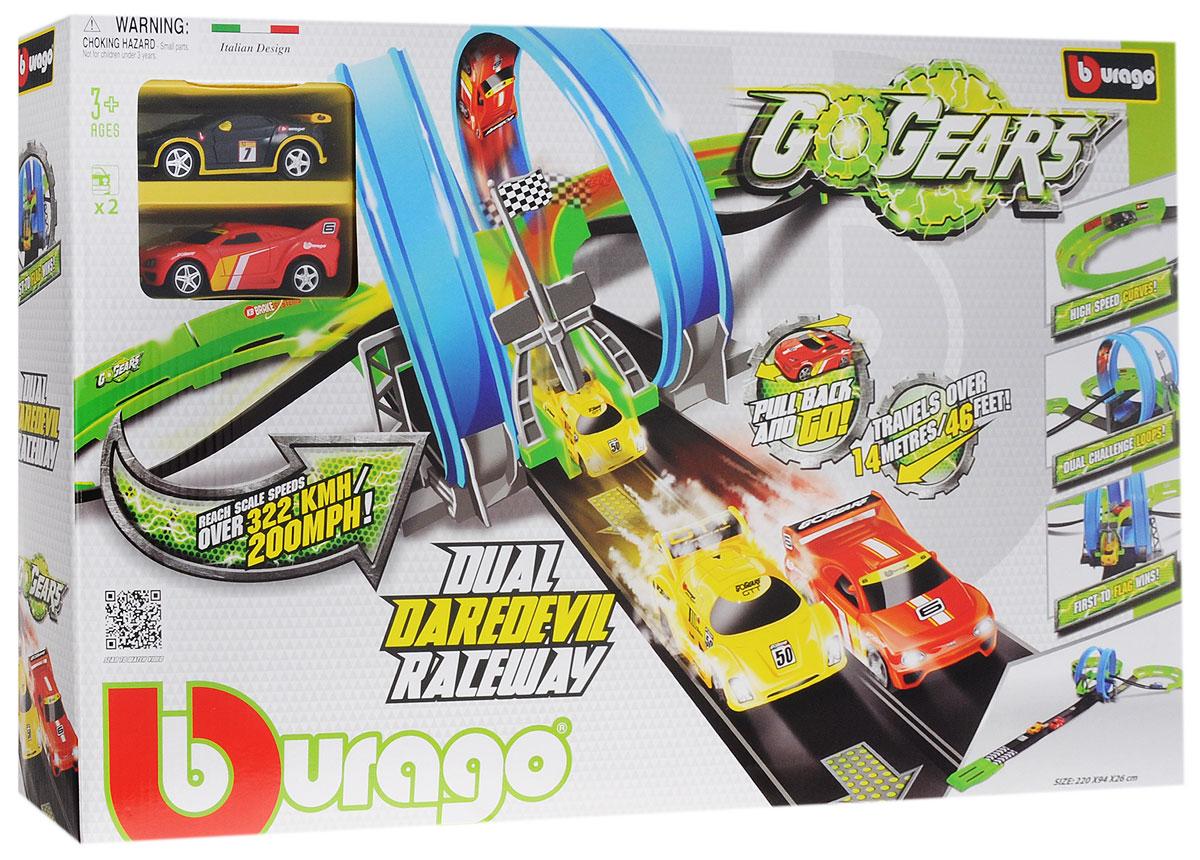 Bburago Гоночный трек Dual Daredevil Raceway18-30262С гоночным треком Bburago Dual Daredevil Raceway малыш ощутит себя настоящим пилотом гонок Формула-1! Набор отлично подойдет для захватывающих дух гонок с друзьями, где у каждого есть шанс на победу! Каждая машина на пути своем встретит мертвую петлю и крутой поворот и только после этого вырвется на финишную прямую. Но чтобы прийти к финишу первым, нужно быть по-настоящему крутым гонщиком! Игрушечные машинки - незаменимый спутник роста и развития мальчиков! Во все времена игры в машинки были самыми популярными у детей! В процессе игры ребенок развивает координацию движений и меткость, пространственное и образное мышление, воображение, мелкую моторику. С мини-модельками автомобилей Bburago игра станет настолько увлекательной, что оторваться будет невозможно! Набор включает в себя элементы для сборки гоночного трека и 2 инерционные машинки.