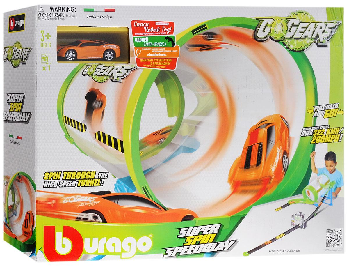 Bburago Гоночный трек Super Spin Speedway18-30286Гоночный трек Bburago Super Spin Speedway с инерционной машинкой непременно понравится вашему ребенку. С ним малыш ощутит себя настоящим пилотом гонок Формула-1. Набор отлично подойдет для захватывающих дух гонок с друзьями, где у каждого есть шанс на победу. Трек и инерционная гоночная машинка выполнены из высококачественного пластика. Запущенная в цилиндрический трек машинка достигает поистине космических скоростей, а затем пулей вылетает на трассу! Для более интересной и разнообразной игры можно сочетать с другими наборами Bburago серии Go Gears. В процессе игры ребенок развивает координацию движений и меткость, пространственное и образное мышление, воображение, мелкую моторику. Порадуйте своего ребенка таким замечательным подарком!