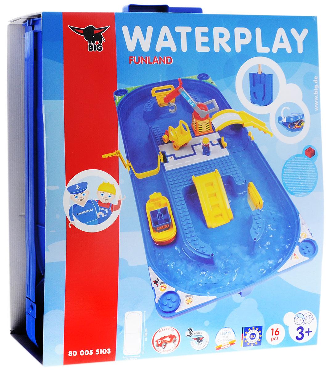 Big Водный трек Waterplay Funland55103Водный трек Big Waterplay Funland - отличный подарок вашему малышу. В комплект входит большая площадка для игры, на которой устанавливается погрузочный кран. Кран может загружать корабли и грузовик. Наличие специальной лестницы, которая присоединена к площадке, даст возможность высадить человечка из лодки. К площадке присоединен подъемный мост, по которому можно с легкостью выехать с острова. Специальная система крепления легко и быстро собирается без помощи клея. Набор поставляется в чемоданчике, который имеет удобную ручку для переноски. Водный трек Big Waterplay Funland развивает творческое мышление, фантазию и вовлекает ребенка в интерактив.