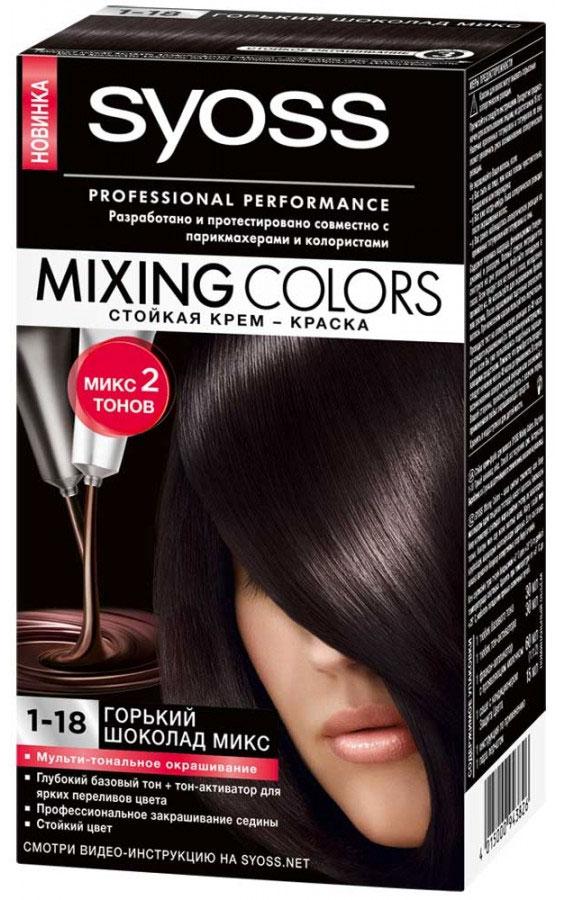 Крем-краска Syoss Mixing Colors 1-18. Горький шоколад микс9393355Стойкая крем-краска Syoss Mixing Colors состоит из двух тонов, специально отобранных парикмахерами-стилистами и колористами, - базового и модного интенсивного, благодаря чему цвет волос получается полным соблазнительных переливов. Все очень легко: просто смешайте два гармонично сочетающихся между собой тона, чтобы получить профессиональный микс оттенков, и нанесите окрашивающую смесь на волосы. Густая кремообразная формула кондиционера с комплексом защиты цвета окутывает ваши волосы, разглаживая их поверхность, что позволяет цвету долго оставаться ярким и блестящим. Многогранный результат окрашивания: Сияющие цвета, полные переливов; Прекрасное закрашивание седины; Здоровый блеск волос.