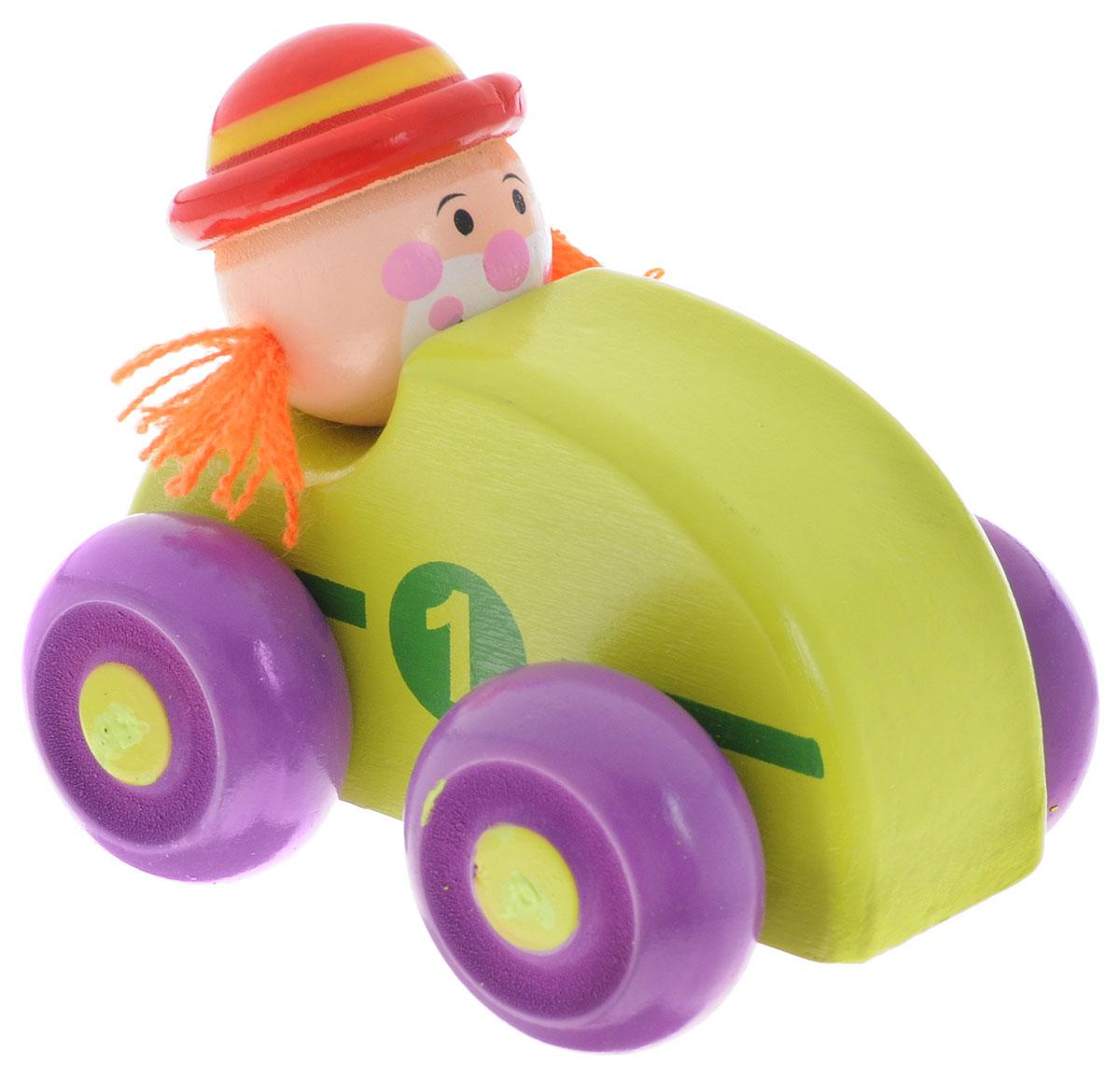 Mapacha Машинка Клоун зеленый76538_салатовыйМашинка Mapacha Клоун привлечет внимание вашего малыша. Яркая игрушка выполнена из экологически чистого дерева, выкрашенного нетоксичными красками, и представляет собой машинку с водителем. Колеса машинки свободно крутятся, благодаря чему малыш сможет катать игрушку. Сваи с колесами можно двигать из стороны в сторону. Машинка Mapacha Клоун способствует развитию у ребенка пространственного мышления, координации движений, воображения и мелкой моторики рук.