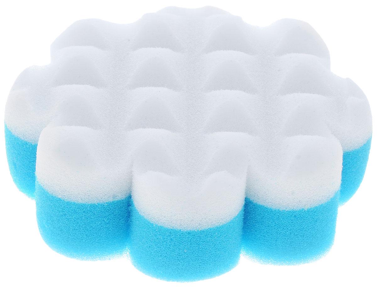 Курносики Мочалка с массажным слоем Цветок цвет голубой белый