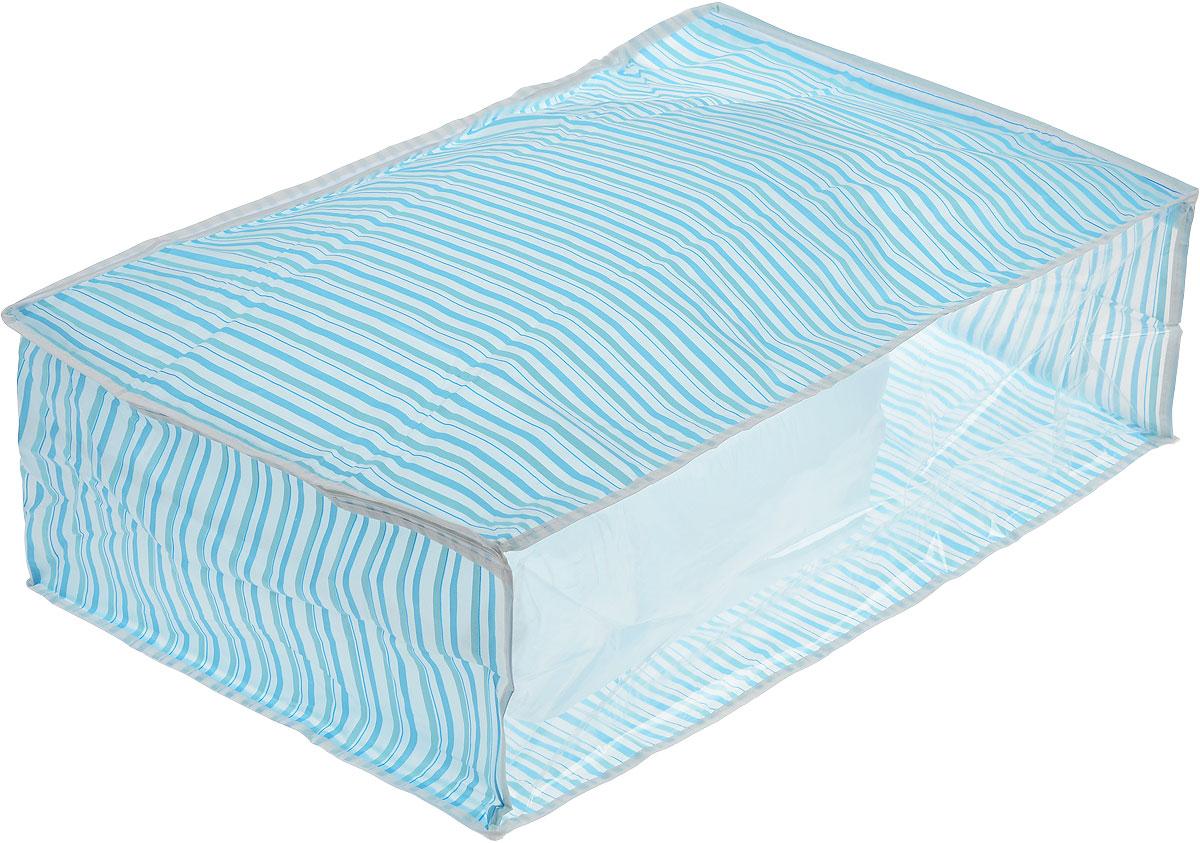 Чехол для хранения Eva, цвет: голубой, 60 х 40 х 20 смЕ-5201_голубая полоскаУдобный чехол на застежке-молнии Eva изготовлен из прочного, водонепроницаемого, легкого в уходе материала PEVA. Он обеспечит надежное хранение вашей одежды и различных вещей, защитит от повреждений, пыли, грязи и UV- излучений во время хранения и транспортировки. Изделие оснащено прозрачной стенкой, благодаря которой вы без труда определите содержимое чехла. Изделие можно стирать при температуре до 40°C. Не содержит хлора. Размер чехла: 60 см х 40 см х 20 см.