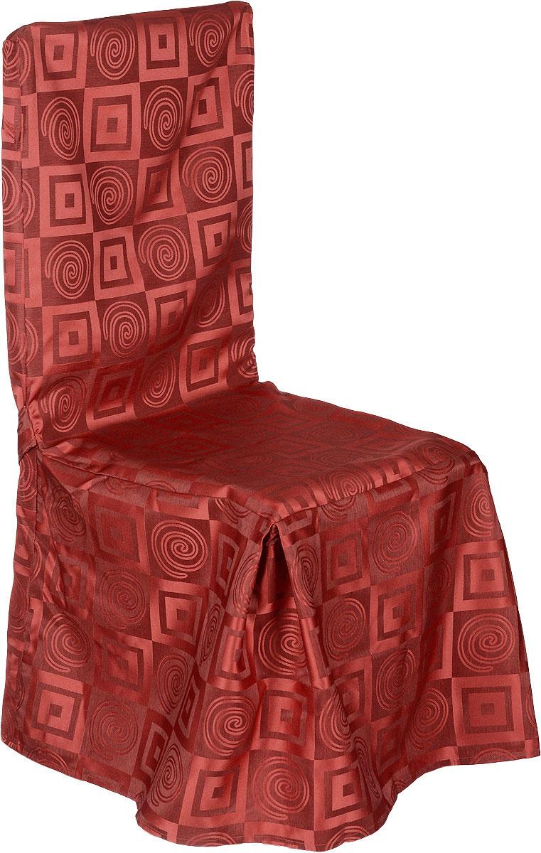 Чехол на стул Schaefer, цвет: красный, 45 х 50 х 50 см06926-952Чехол на стул Schaefer выполнен из полиэстера с красивым геометрическим орнаментом. На спинке чехол завязывается на завязки. Предназначен для классического стула со спинкой. Такой чехол изысканно дополнит интерьер вашего дома. Размер спинки: 50 х 50 см. Ширина сиденья: 45 см. Длина по тыльной стороне: 95 см.