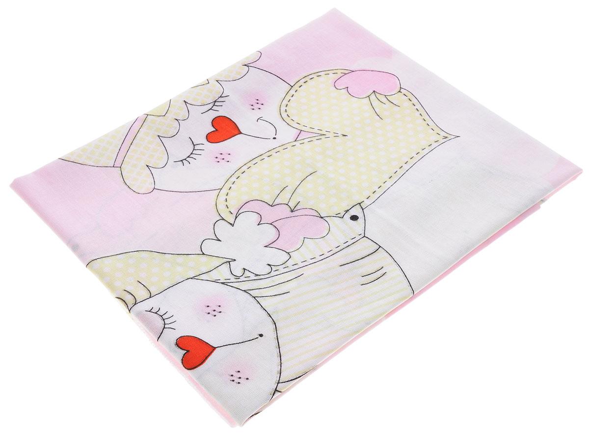 Bonne Fee Простыня детская Гномики цвет розовый 70 см х 100 см