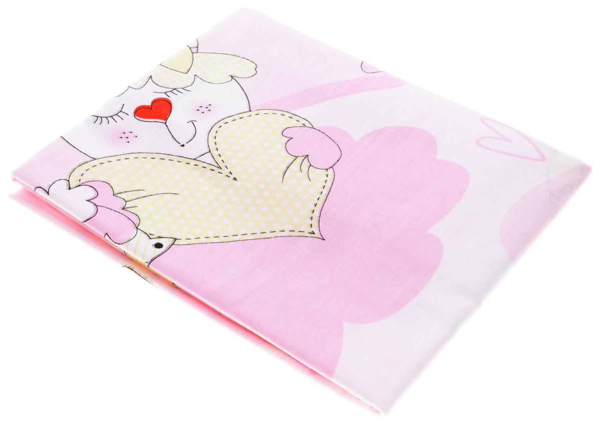 Bonne Fee Простыня детская Гномики цвет розовый 70 см х 120 см