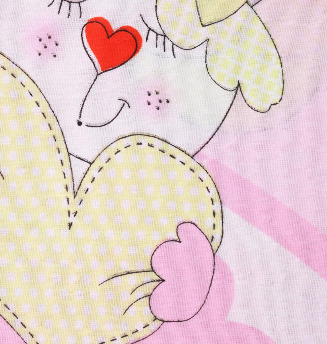 Bonne Fee Простыня детская Гномики цвет розовый 60 см х 120 см
