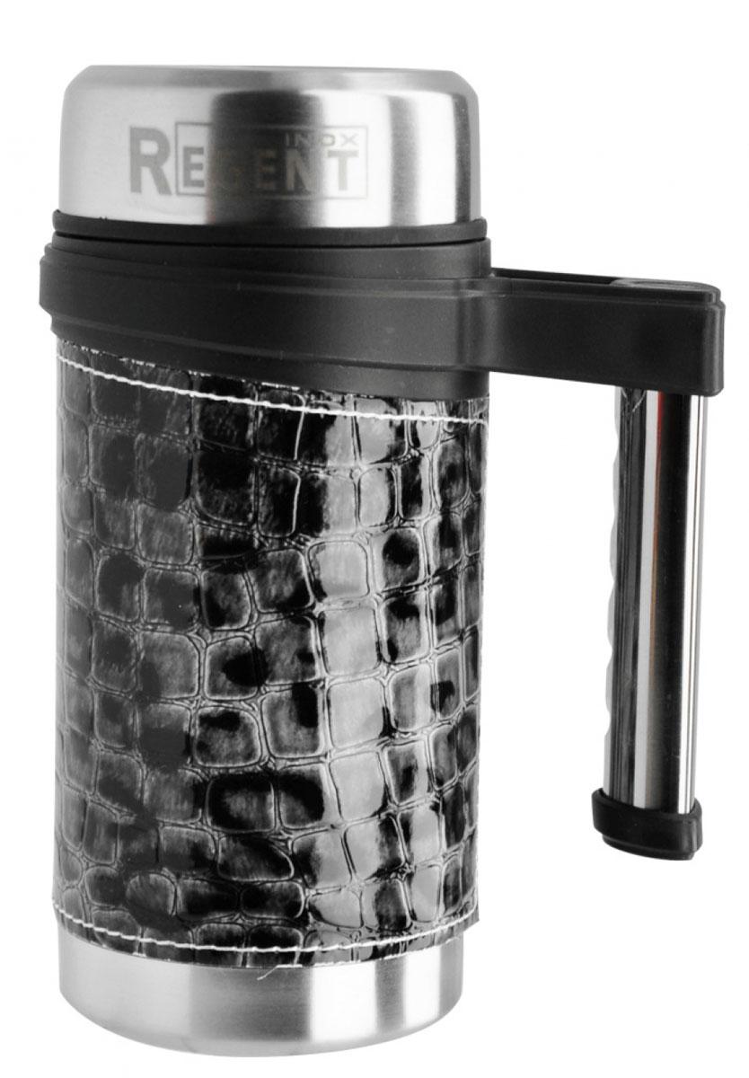 Кружка-термос Regent Inox Gotto, цвет: серый, 0,5 л93-TE-GO-3-500.3Кружка-термос Regent Inox Gotto удобна для использования в быту, походе и путешествиях. Прекрасно сохраняет температуру напитка. Универсальна, для горячих и холодных напитков. Снабжена съемным ситечком. Защищает руки от ожогов, внешняя стенка не нагревается. Компактна, удобна в использовании. Полированная поверхность легко моется. Внешняя поверхность отделана искусственной кожей со звериным принтом. Кружка-термос надежна и долговечна. Экологически безопасна. Высота термоса (с учетом крышки): 19 см. Диаметр основания термоса: 8 см. Диаметр горлышка: 6 см.