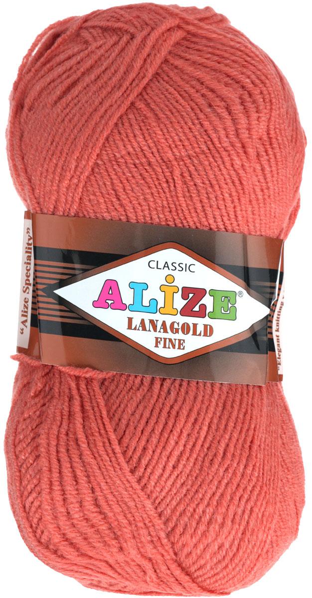 Пряжа для вязания Alize Lanagold Fine, цвет: коралловый (154), 390 м, 100 г, 5 шт547499_154Alize Lanagold Fine - это полушерстяная пряжа для ручного вязания. Нить плотно скручена, гибкая, послушная, не пушится, не электризуется, аккуратно ложится в петли и не деформируется после распускания. Стойкое равномерное окрашивание обеспечивает широкую палитру оттенков, высокое качество материала и используемых красителей защищает от потери цвета. Соотношение шерсти и акрила - формула практичности. Высокие тепловые характеристики сочетаются с эстетикой, носкостью и простотой ухода за вещью. Классическая пряжа для зимнего сезона, может использоваться для детской и взрослой одежды. Alize Lanagold Fine - универсальная пряжа, которая будет хорошо смотреться в узорах любой сложности. Рекомендуемый размер спиц 2,5-4 мм и крючка 2-4 мм. Состав: 49% шерсть, 51% акрил.